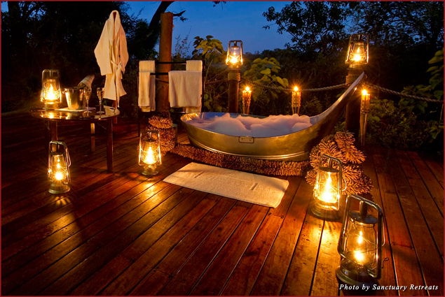 A candlelit bush bath for two at Botswana Baines' Camp