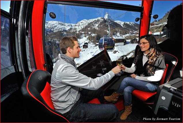 Take in iconic views during VIP Gondola's tour toward the Matterhorn