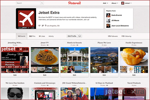 Pinterest allows users to create online pin boards in areas such as fashion, food, and (as with Jetset Extra) travel