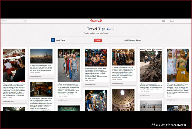 "Lonely Planet curates a ""Travel Tips"" board that combines images with important information for travelers"