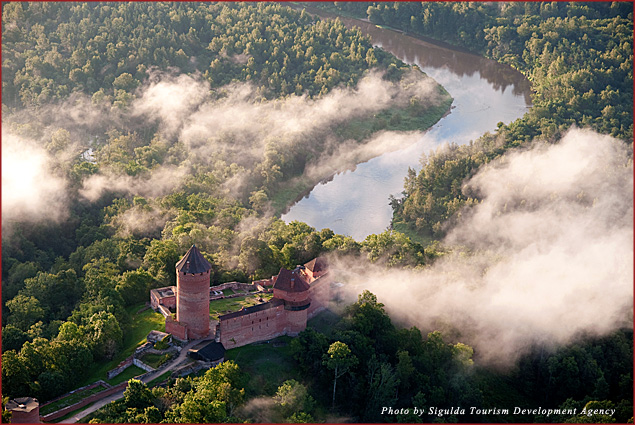 A birds-eye view of a medieval castle in Sigulda, Latvia