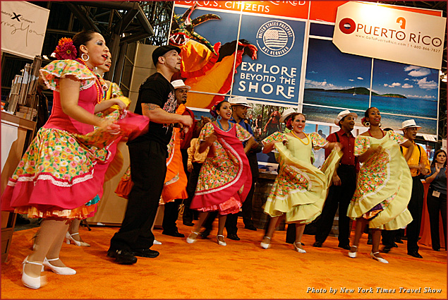 Puerto Rico Tourism entertaining the crowd at the New York Times Travel Show