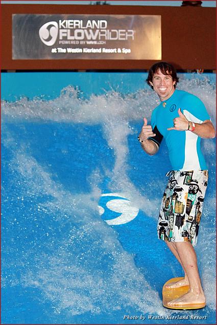 Wavemaster Steve catching a wave on the Kierland FlowRider