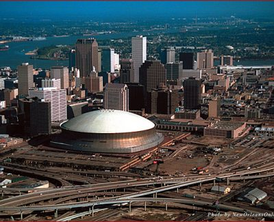 An aerial view of the Superdome in New Orleans