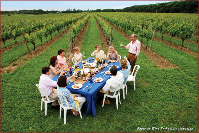 Diners toast at a vineyard on Long Island in New York