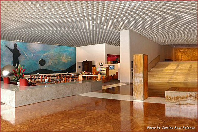 The left side of the marble lobby of the Camino Real Polanco