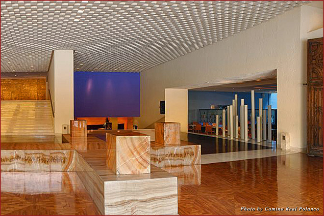 The right side of the marble lobby of the Camino Real Polanco