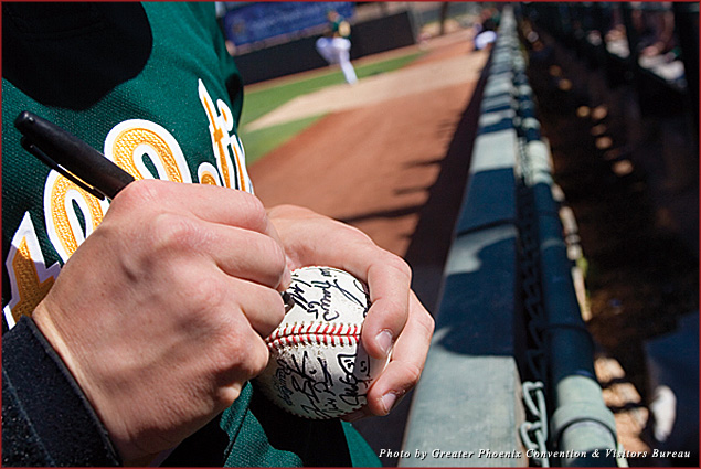 During spring training fans can get autographs from some of their favorite baseball players