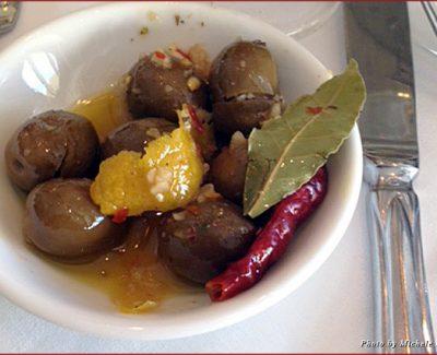 Olives flavored with garlic at Santa Barbara's Olio e Limone Ristorante
