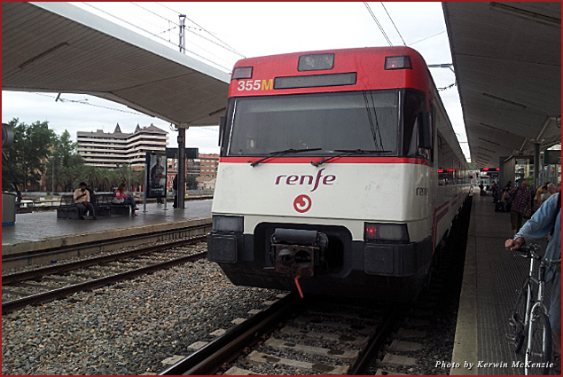 The Renfe train runs between Barcelona Sants and Girona