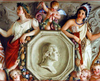 A fresco of an Indian princess and Columbia honoring George Washington