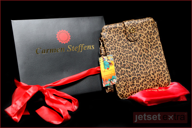 A leopard-print iPad holder courtesy of Carmen Steffens
