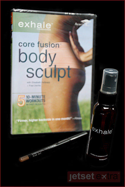 Exhale also donated natural white tea body spray, a 'Core Fusion Body Sculpt' workout DVD, an eyebrow pencil, and a coupon to receive $25 off a spa therapy