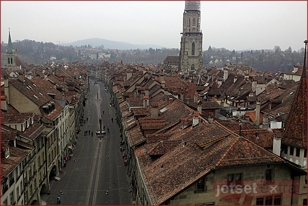 View of Bern's old city from the clock tower