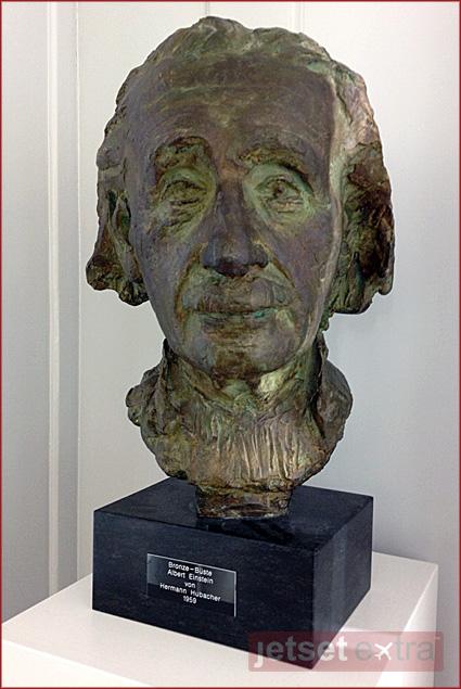 Bronze bust of Albert Einstein on display in the Einstein House Museum