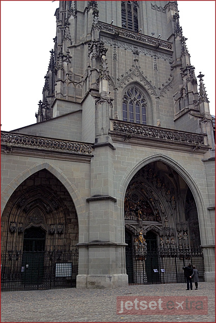 Entrance to Bern's Cathedral; once Catholic, it is now Protestant
