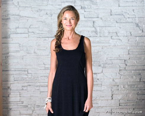 Gaiam's asymmetrical maxi dress is soft and easy to wear