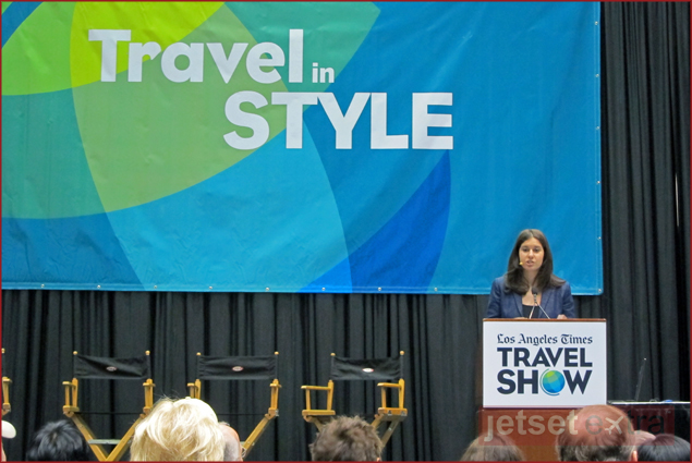Joanna Stern, ABC News technology editor, speaks about travel technology tips at the Los Angeles Times Travel Show
