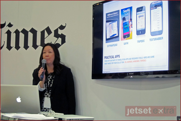 Jen Leo presents her travel applications picks at the Los Angeles Times Travel Show