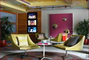 Hotel Tomo's lobby boasts vibrant colors and a Japanese motif