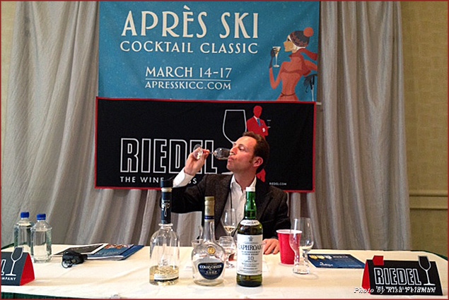 Riedel's chief executive officer Maximilian Riedel demonstrates the art of tasting