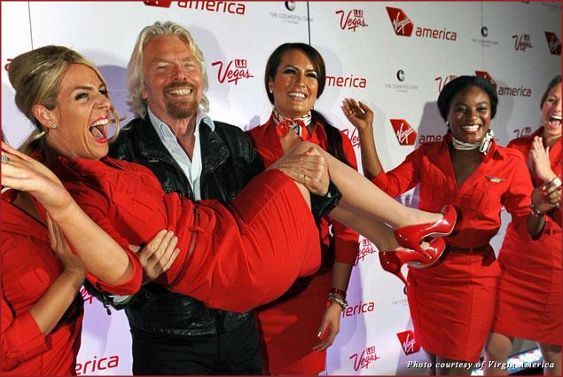 Sir Richard Branson launches Virgin America's LAX-LAS flights with the help of some pretty Virgin flight attendants