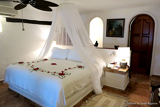 The guestrooms at Maroma featured canopied beds decorated each day with red rose petals