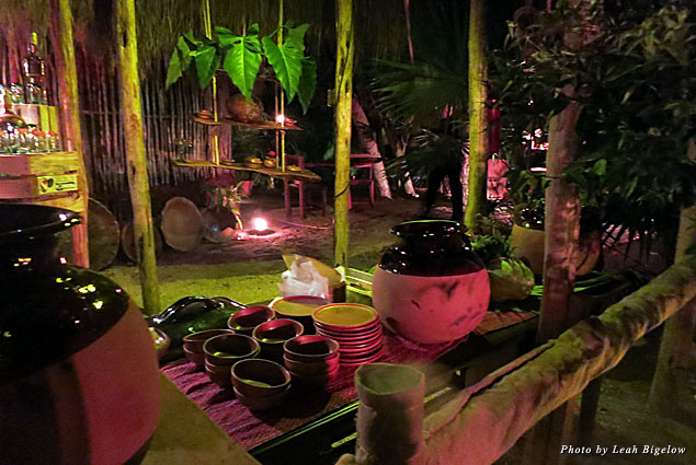 At Aldea Maya, food is prepared in clay pots and pans over an open flame