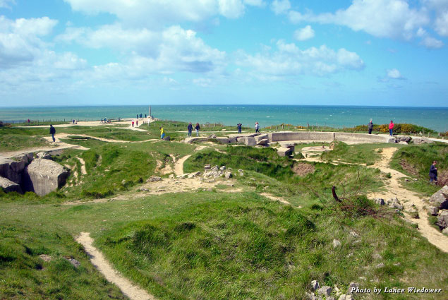 Today, bomb craters dot the landscape at Pointe du Hoc