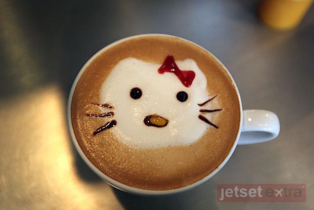 Hello Kitty coffee made by Sheila at the Bahia Hotel's coffee bar