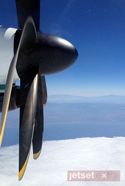 An Alaska Airlines propeller plane took us the short trip from LAX to Loreto