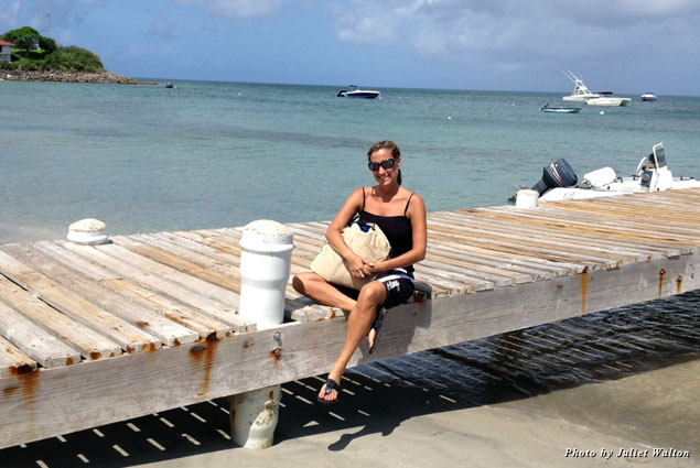 Sitting on the pier, sad to leave Nevis