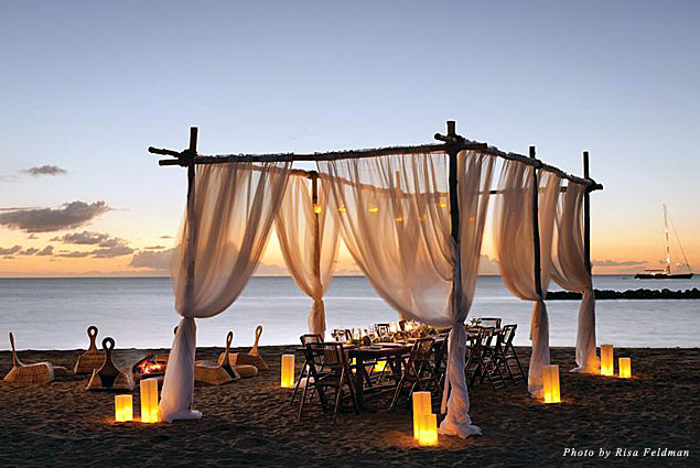 Dining on the beach at Four Seasons, Nevis