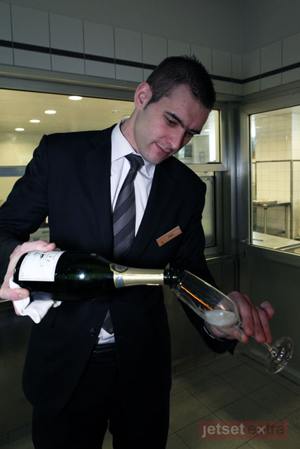 Beau Rivage Hotel sommelier Gary Bovagne pairing wines with the chef's table lunch