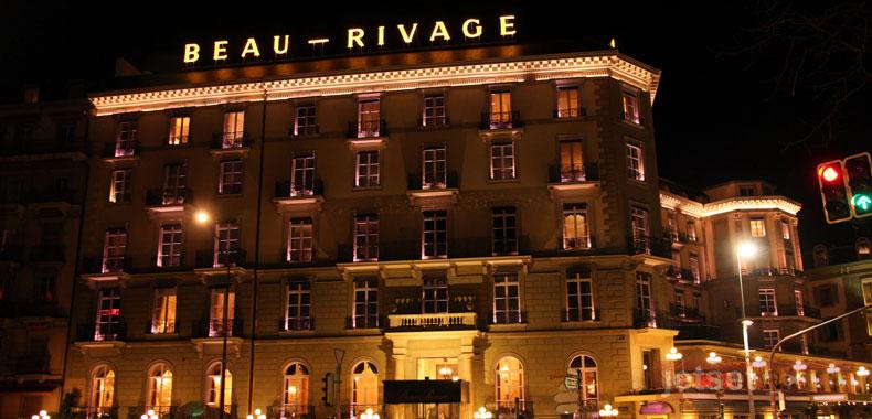 Nighttime view of the Beau-Rivage Hotel in Geneva, Switzerland
