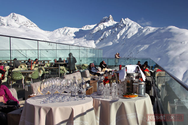 Hotel Romantik viewing terrace over St. Moritz, Switzerland