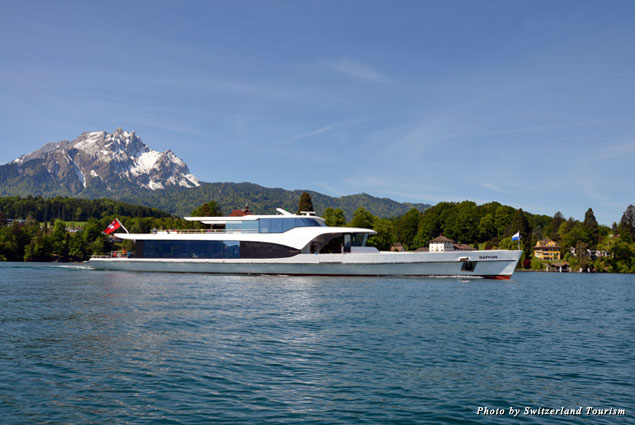 A panorama boat Saphir in the Bay of Lucerne