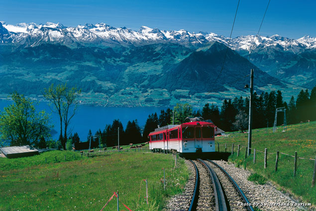 Central Switzerland's Rigi Mountain offers wonderful views over Lake Lucerne and the Alps
