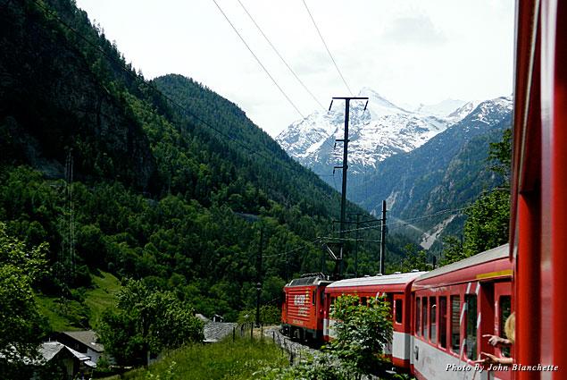 Heading by train from Lucerne to Zermatt