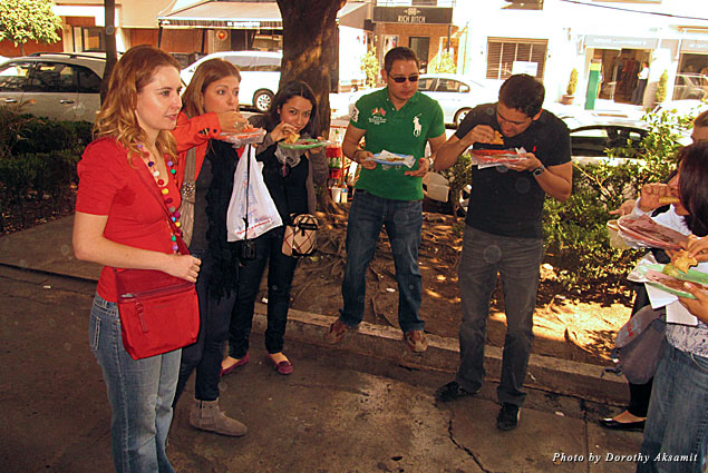 El Turix was full of patrons so we stood outside enjoying finger lickin'-good tacos