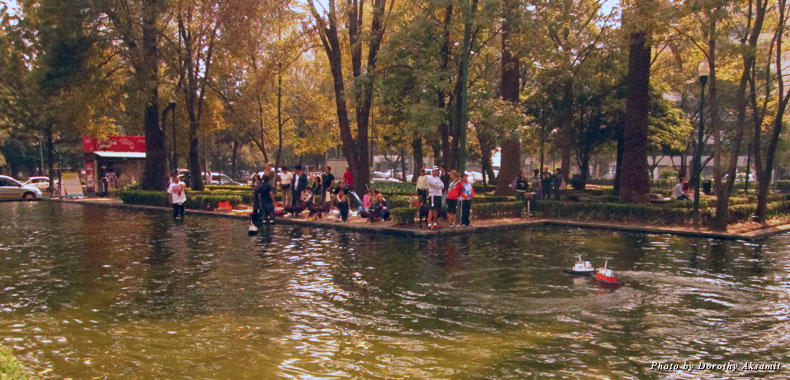 Toy sailboats race around a lake in Lincoln Park on a Sunday morning in Polanco