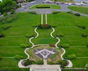 An overhead view of the George Washington Masonic Memorial