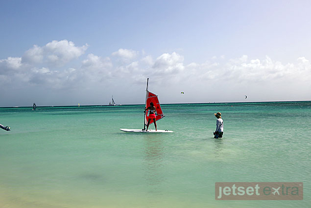 Ashley Colburn taking a windsurfing lesson with Aruba Active Vacations