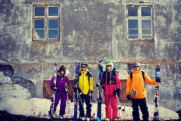 With (from left to right) Camilla Edwards, Brody Leven, and Sierra Quitiquit at home base for Borea Adventures