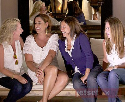 Leah Walker, Laruen DiMarco, Ana Silva O'Reilly, and Mary Anne Been at the Bahia Hotel in Cabo San Lucas