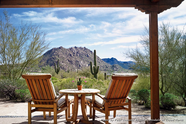 View from balcony of room at Four Seasons Resort Scottsdale