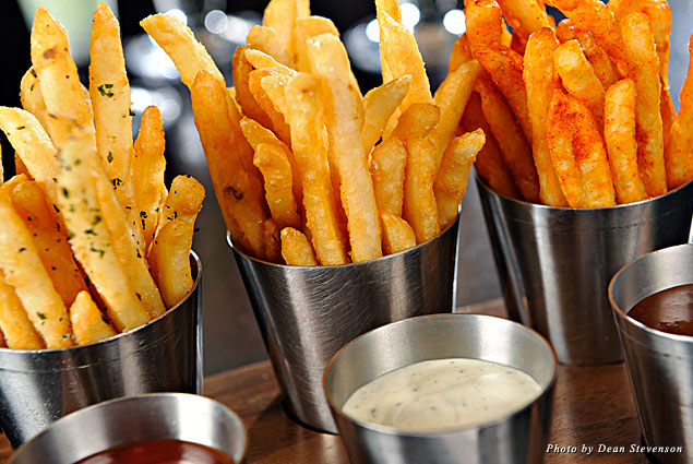 Trio of duck fat fries with dipping sauces