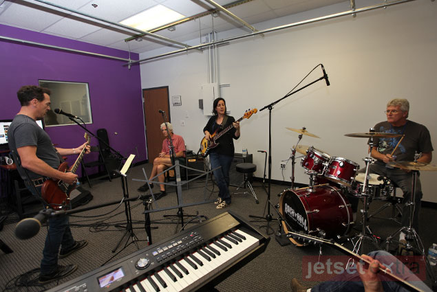 Jimmy Dunn and his Rock and Roll Fantasy Camp band practicing their line-up