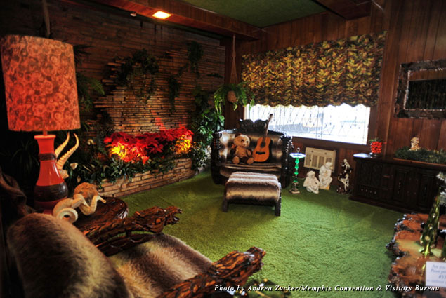 The Jungle Room is distinctive with its shag carpet and waterfall on the far wall