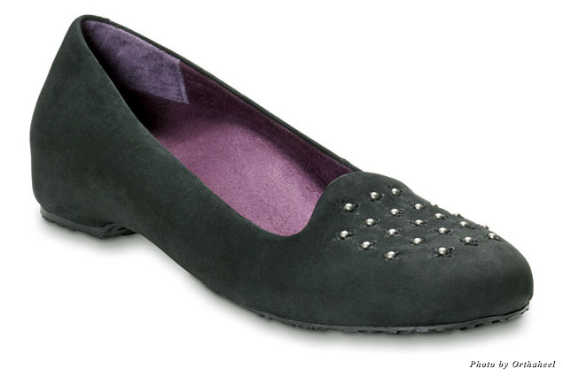 The Chelsea casual flat has a slipper silhouette with podiatrist-designed technology